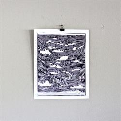 Wave Ocean print Beach Surf poster 11x14 unframed